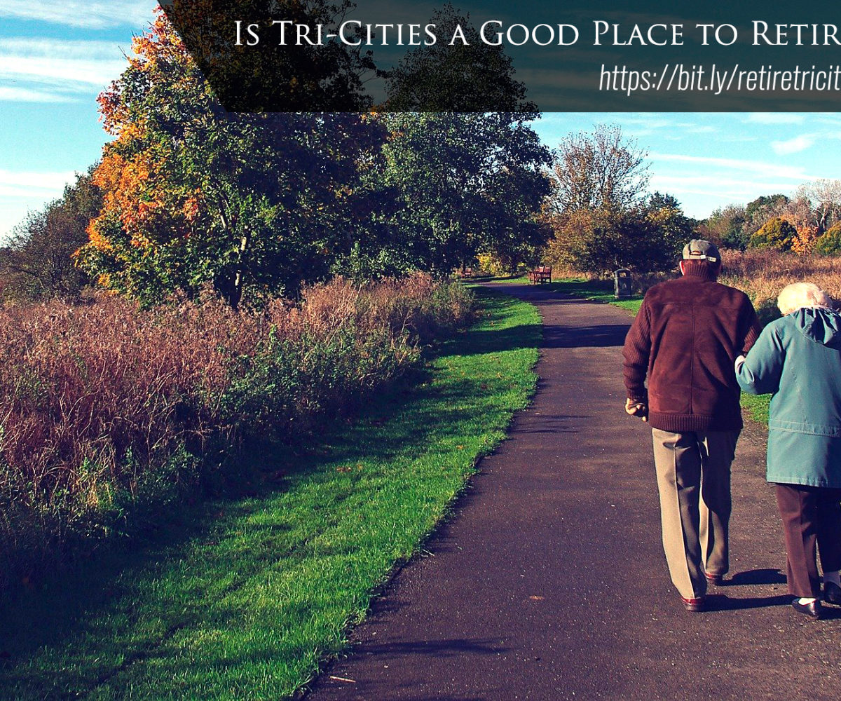 A retired couple walking together.